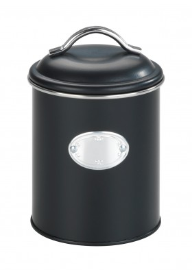 Wenko - Nero Airtight Retro Metal Storage Jar - Black - 1L