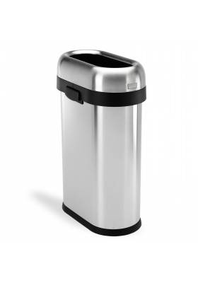 SIMPLE HUMAN 50L SLIM OPEN TOP COMMERCIAL OVAL BIN – BRUSHED STAINLESS STEEL