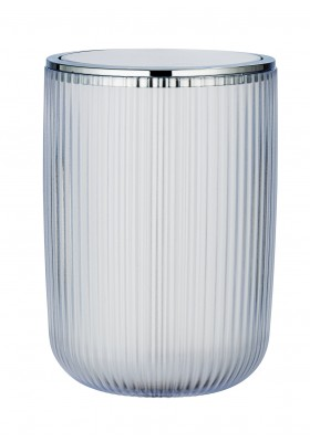 SWING COVER BIN 5.5L - AGROPOLI RANGE - WHITE  - FROSTED PLASTIC