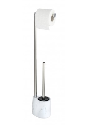 FREESTANDING TOILET ROLL & TOILET BRUSH HOLDER - CERAMIC MARBLE EFFECT