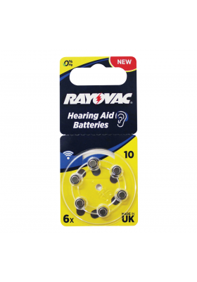 SIZE 10 HEARING AID BATTERIES (6 PACK)