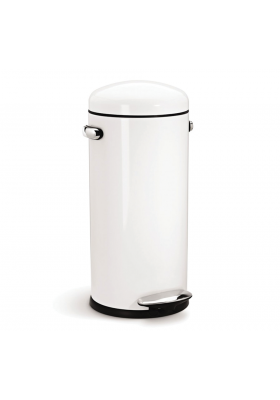 SimpleHuman - 30 Litre Retro Style Pedal Bin - White