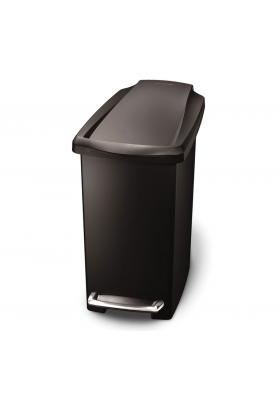 SimpleHuman - 10 Litre Slim Plastic Pedal Bin - Black